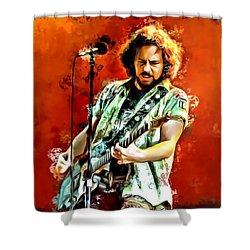 Eddie Vedder Painting Shower Curtain by Scott Wallace