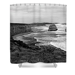 Edge Of A Continent Bw Shower Curtain