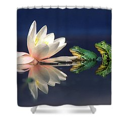 Edible Frog Rana Esculenta Two Frogs Shower Curtain