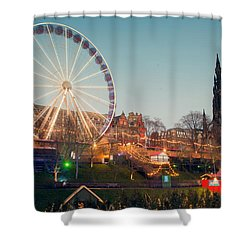 Edinburgh And The Big Wheel Shower Curtain by Ray Devlin