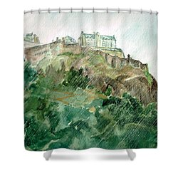 Shower Curtain featuring the painting Edinburgh Castle by Andrew Gillette