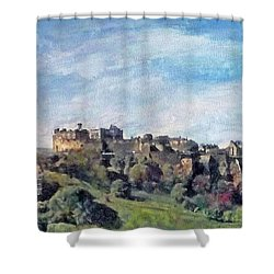Shower Curtain featuring the painting Edinburgh Castle Bright by Richard James Digance