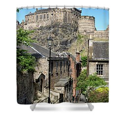 Shower Curtain featuring the photograph Edinburgh Castle From The Vennel by Jeremy Lavender Photography