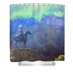 Shower Curtain featuring the painting Edinburgh Castle Horse Statue by Richard James Digance