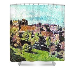 Shower Curtain featuring the painting Edinburgh Castle Skyline No 2 by Richard James Digance