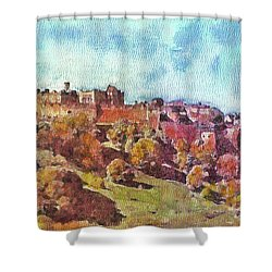 Shower Curtain featuring the painting Edinburgh Skyline No 1 by Richard James Digance