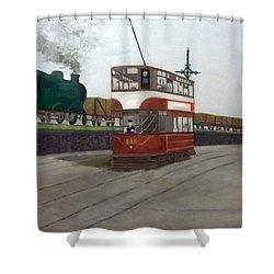 Edinburgh Tram With Goods Train Shower Curtain