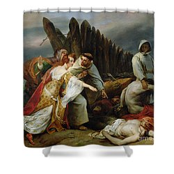 Edith Finding The Body Of Harold Shower Curtain by Emile Jean Horace Vernet