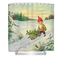 Edwardian Christmas Card Of A Gnome Pushing Small Cart Holly In The Snow Shower