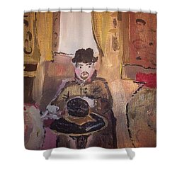 Shower Curtain featuring the painting Edwardian Hats by Judith Desrosiers