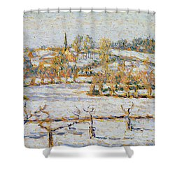 Effect Of Snow At Eragny Shower Curtain by Camille Pissarro