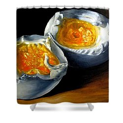 Eggs Contemporary Oil Painting On Canvas  Shower Curtain by Natalja Picugina