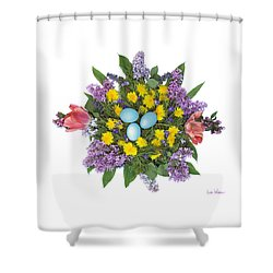 Eggs In Dandelions, Lilacs, Violets And Tulips Shower Curtain by Lise Winne