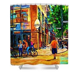 Shower Curtain featuring the painting Eggspectation Cafe On Esplanade by Carole Spandau