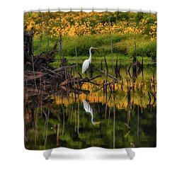 Egret Art  Shower Curtain