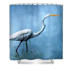 Egret Shower Curtain by Cyndy Doty