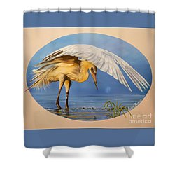 Flying Lamb Productions                  Egret Fishing Shower Curtain