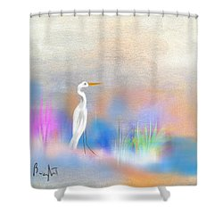 Egret Grace Abstract Shower Curtain by Frank Bright