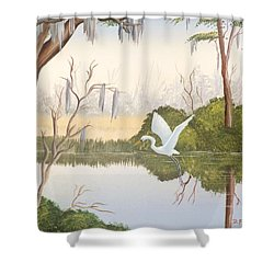 Egret In Flight 1 Shower Curtain