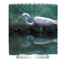 Egret In Metallic Shower Curtain by Kathy Russell