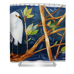 Egret In The Mangroves  Shower Curtain