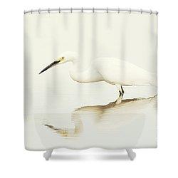 Egret In Vanilla Tones Shower Curtain