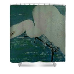 Egret Shower Curtain by Judi Goodwin