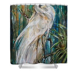 Egret Near Waterfall Shower Curtain