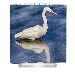 Egret Reflection On Blue Shower Curtain