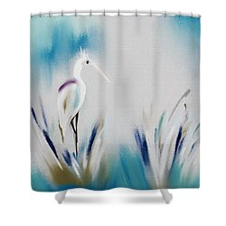Egret Splash Shower Curtain by Frank Bright