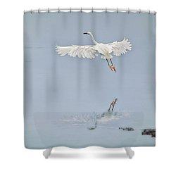 Egret Takes Flight Shower Curtain