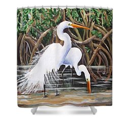 Egrets And Mangroves Shower Curtain