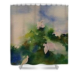 Egrets Impressionistic Watercolor Gift Shower Curtain by Geeta Biswas
