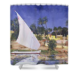 Egypt Blue Shower Curtain by Clive Metcalfe