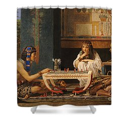 Egyptian Chess Players Shower Curtain by Sir Lawrence Alma-Tadema