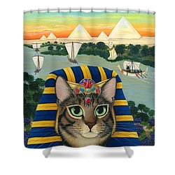 Egyptian Pharaoh Cat - King Of Pentacles Shower Curtain