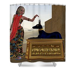 Egyptian Woman And Anubis Statue Shower Curtain by Corey Ford