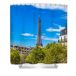 Shower Curtain featuring the photograph Eiffel Around Town by Kim Wilson