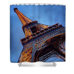 Eiffel Dressed In Gold Shower Curtain by Kim Andelkovic