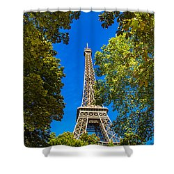 Shower Curtain featuring the photograph Eiffel Hiding by Kim Wilson