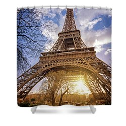 Shower Curtain featuring the photograph Eiffel Sunset by Delphimages Photo Creations