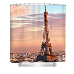 Shower Curtain featuring the photograph Eiffel Sunset by Kim Wilson
