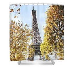 Shower Curtain featuring the photograph Eiffel Tower Amidst The Autumn Foliage by Ivy Ho