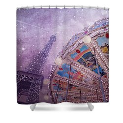 Shower Curtain featuring the photograph Eiffel Tower And Carousel by Clare Bambers