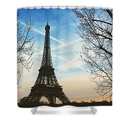 Eiffel Tower And Contrails Shower Curtain