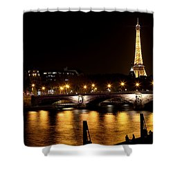 Shower Curtain featuring the photograph Eiffel Tower At Night 1 by Andrew Fare