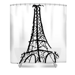 Eiffel Tower Black And White Shower Curtain by Robyn Saunders