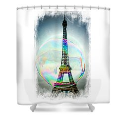 Eiffel Tower Bubble Shower Curtain