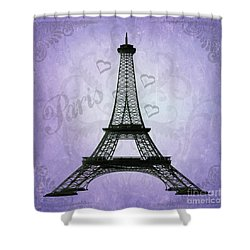 Eiffel Tower Collage Purple Shower Curtain