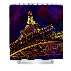 Shower Curtain featuring the painting Eiffel Tower by DC Langer